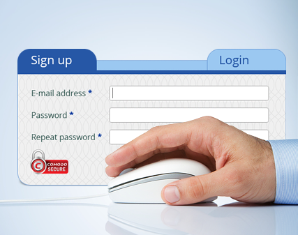 Login and sign up form of the EU Blue Card Network